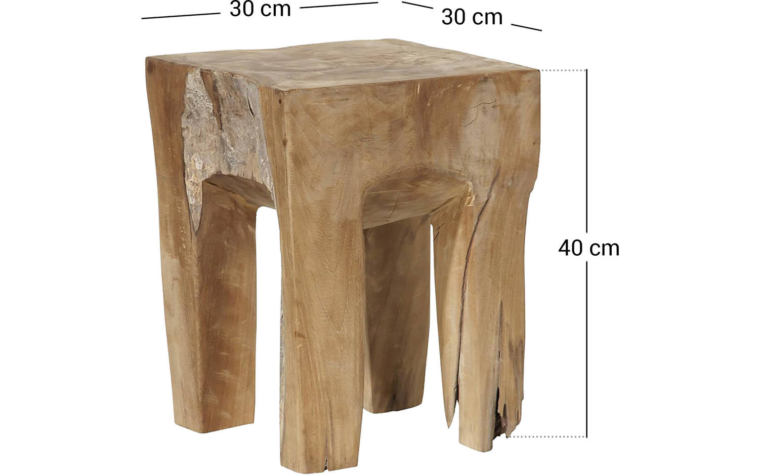 Hocker square unbehandelt teak - 8101137-98