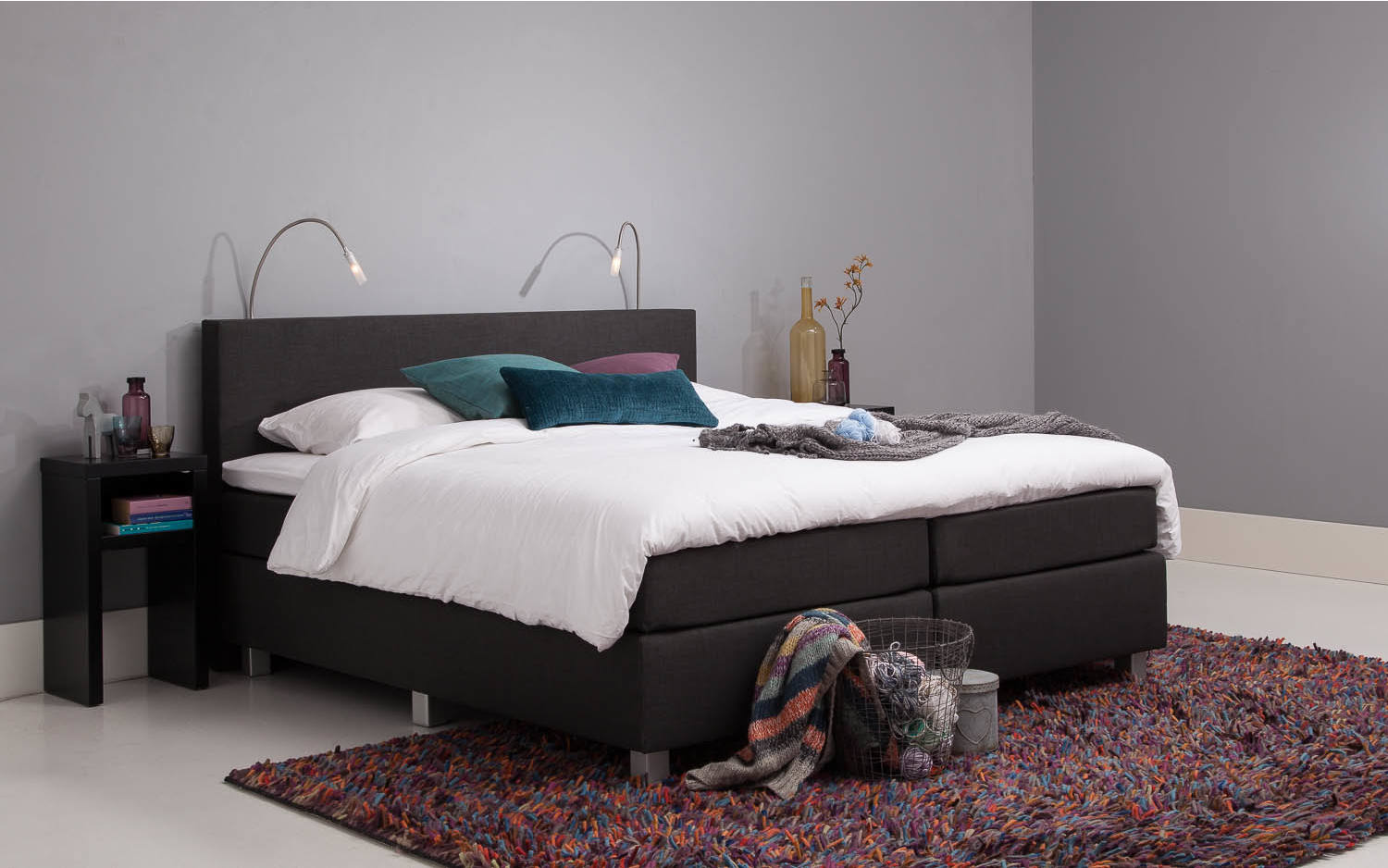 boxspring norway grau stoff kopen goossens. Black Bedroom Furniture Sets. Home Design Ideas