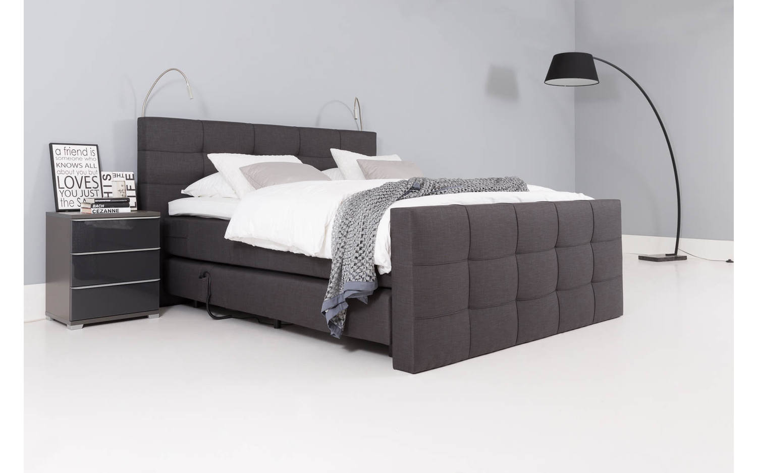 boxspring komplett calgary grau stoff kopen goossens. Black Bedroom Furniture Sets. Home Design Ideas