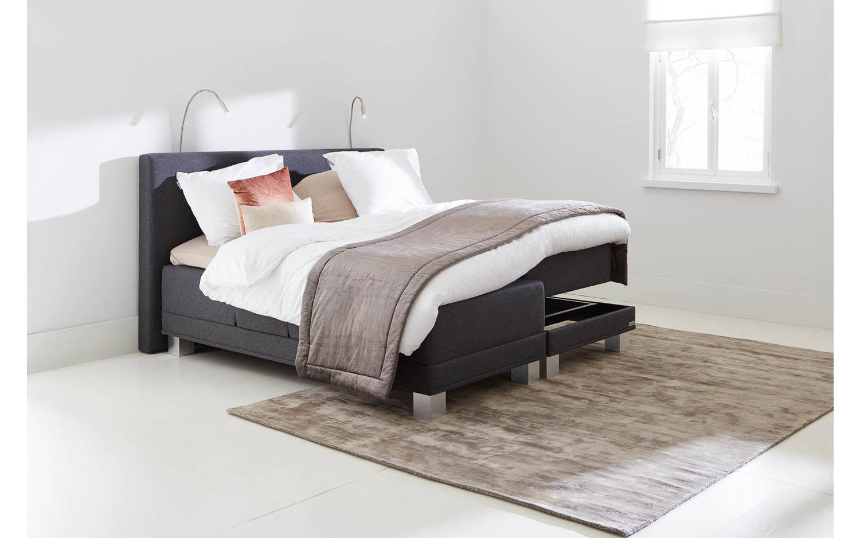 boxspring komplett infinity grau stoff kopen goossens. Black Bedroom Furniture Sets. Home Design Ideas