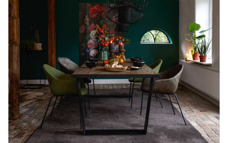 esszimmerstuhl berlin gr n stoff kopen goossens. Black Bedroom Furniture Sets. Home Design Ideas